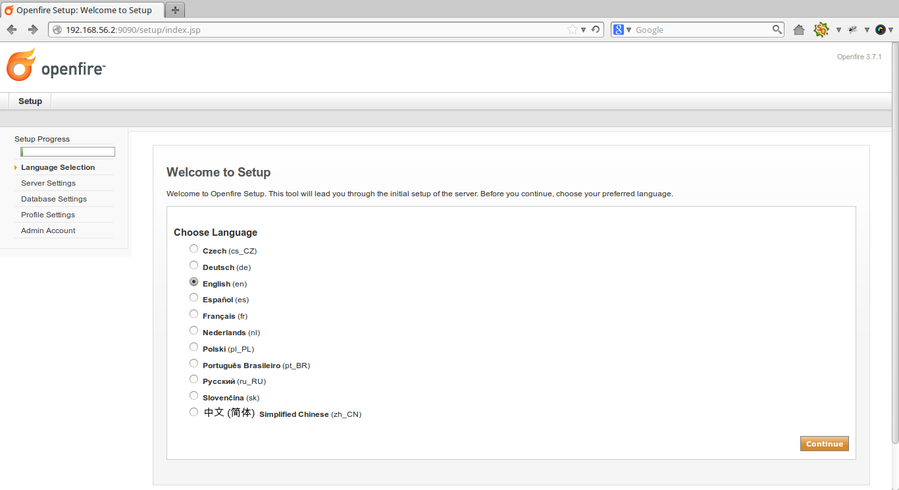 在ubuntu上安装Openfire即时通讯服务器